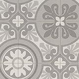 PVC Bodenbelag Steinoptik | Fliesenoptik Retro grau | 200, 300 und 400 cm Breite | Meterware, verschiedene Größen | Größe: 2 x 2 m