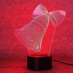 Idea Regalo - 3d campana di Natale della notte lampada regolabile 7colori LED 3d creative Interruttore Touch stereo Visual atmósfera tavolo regalo per Natale