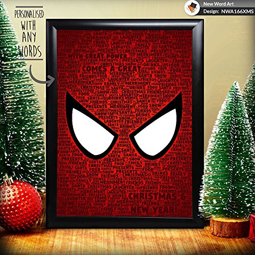 Persönlicher Spiderman Marvel Weihnachten Geschenk Weihnachtsgeschenk Andenken Wort Art, A4 Print & Black Frame