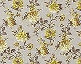Blumen Tapete Vlies EDEM 603-91 XXL Blumentapete Floral Textilstruktur Muster mit Blättern Retro-look grau grün braun 10,65 qm
