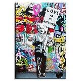 Karen Max dipinti Wall Art 1 Piece Banksy Art Love la risposta tela colorato graffiti Street Artwork un uomo che tiene un segno immagini size 4:28x40inch No frame