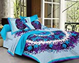 #9: SheetKart Floral Cotton Double Bedsheet With 2 Pillow Covers - Fine Blue