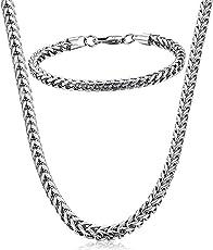 Potok Schmuck Edelstahl Ketten Set von Halsketten und Armketten für Damen Herren silberweißen Armbändern 5mm breit und 22cm für Armband, 61cm für Halskette