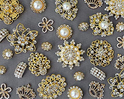 20 Gold Assorted Rhinestone Button Brooch Embellishment Pearl Crystal Wedding Brooch Bouquet Cake Hair Comb Clip