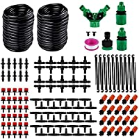 Hamkaw DIY Micro Irrigation Drip System 98.4ft 1/4inch Blank Distribution Tubing with Sprayers Mister Nozzle Automatic Watering Drip Kit for Garden Greenhouse Patio Flower Bed