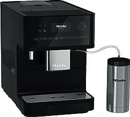Miele CM 6350 Black Edition Kaffeevollautomat für zeitgleiche Zubereitung zweier Kaffees/Kaffeemaschine für intensives Kaffeearoma/Kaffeeautomat für Bohnen und Pulver, schwarz