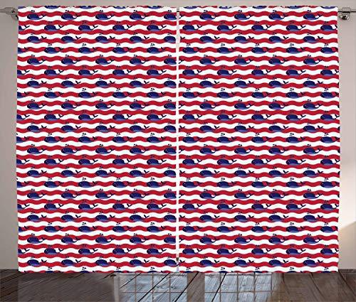 aler Gardine, Nautische Baby-Muster, Schlafzimmer Kräuselband Vorhang mit Schlaufen und Haken, 280 x 260 cm, Dunkle Koralle Marineblau Weiß ()
