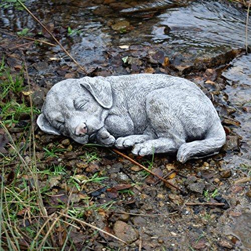 Dormir Labrador Perro huellas de piedra estatua escultura decoración