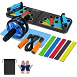 Aurorast Fitness Workout Set 4 Pezzi- Elastici Fitness | Push-up Board 13 in 1| AB Wheel Roller Addominali con Tappetino | Co