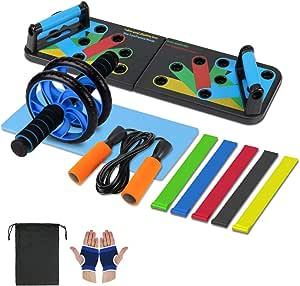 Aurorast Fitness Workout Set 4 Pezzi- Elastici Fitness   Push-up Board 13 in 1  AB Wheel Roller Addominali con Tappetino   Corda per Saltare, Attrezzi Palestra per casa