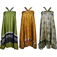Boho Chic Womens Beach Wrap Vintage Silk Sari Magic Wrap Skirt, Dress Wholesale 3 Pcs Lot