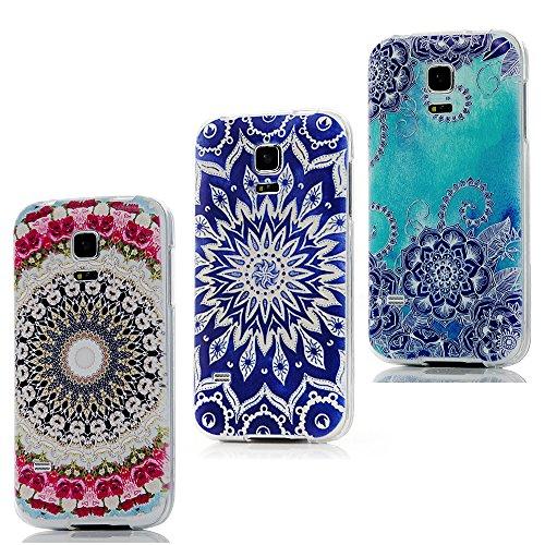 Preisvergleich Produktbild ZSTVIVA 3 in 1 Zubehör Set Schutzhüllen Samsung Galaxy S5 MINI Hülle TPU Case Schutzhülle Silikon Crystal Case Durchsichtig Cover Schale Handy Tasche Skin (Rose Hanawa + Lotus + totem)
