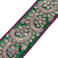 Diseñador De Ropa Real Del Ajuste De Costura De Encaje Floral Cinta De Tela Bordada Verde Por El Patio