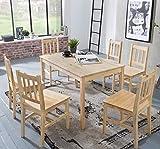 KADIMA DESIGN Esszimmer-Set Emil 7 teilig Kiefer-Holz Landhaus-Stil 120 x 73 x 70 cm | Natur Essgruppe 1 Tisch 6 Stühle | Tischgruppe Esstischset 6 Personen | Esszimmergarnitur massiv