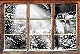 Monocrome, Alte Ruine Fenster im 3D-Look, Wand- oder Türaufkleber Format: 62x42cm, Wandsticker, Wandtattoo, Wanddekoration