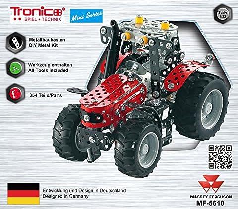 Tronico Metallbaukasten, Traktor Massey Ferguson MF-5610,Traktor, 354 Teile, Freilauf, 1:32, bebilderte Aufbauanleitung, inklusive Werkzeug, Mini Serie, Starter Set, ab 8 Jahren,