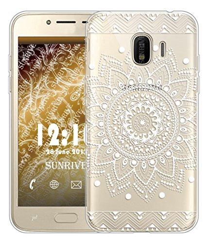 Sunrive Coque pour Samsung Galaxy Grand Prime Pro (2018)/J2 Pro 2018 5,0 Pouces, Silicone Étui Housse Protecteur Souple TPU Gel Transparent Back Case(TPU Fleur Blanc)+ Stylet OFFERTS