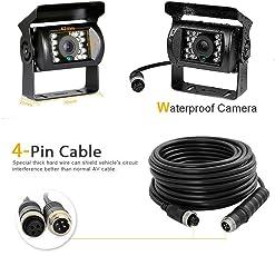 Camecho 12V-24V 4 Pins 18 LEDs IR-Nachtsicht wasserdicht Kamera + 10 m 4 Pins Kabel für Auto/Bus/LKW/Anhänger/Wohnwagen/Wohnmobil/Heavy Rückseite