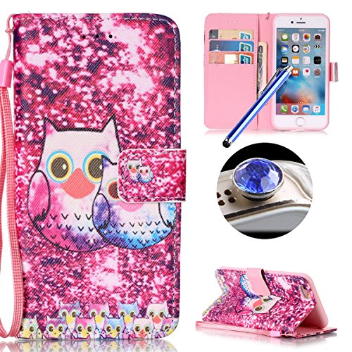 Etsue Coque en cuir pour iPhone 5/5S,iPhone SE,Mode Folio Portefeuille Pattern Housse de téléphone avec Corde pour iPhone 5/5S,iPhone SE,Coloré Retro Flip Book Style Motif Leather Wallet Case Cover av Mignon hibou-Rose