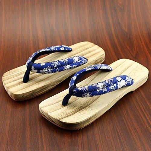 XIAMUO Im japanischen Stil Holzschuhe männlich und weiblich Paar Modelle Holz- Hausschuhe männlichen Sommer rutschfeste Holzschuhe Flip-Flops, 27 cm 43-44 Yards, Saphirblau quadratischen Kopf