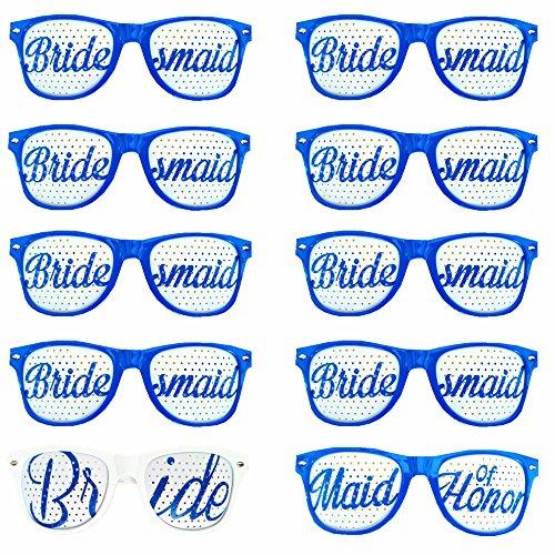 bachelorette4ever Set von 10uns Sonnenbrille-Party Sonnenbrille für Hochzeiten, Zeremonien & amp-parent 10 Pack blau