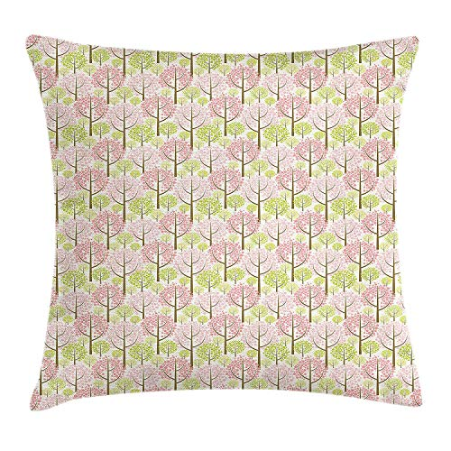 Funda de cojín para cojines de árboles, patrón de flor de cerezo japonesa con composición abstracta Inspiraciones orientales, funda de almohada decorativa decorativa cuadrada, blanco rosado verde