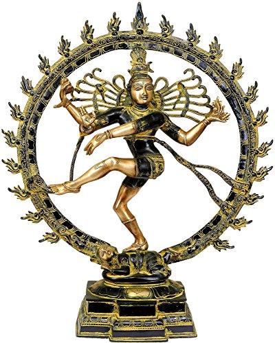 Exotic India Nataraja Verde Golden Hues-Estatua