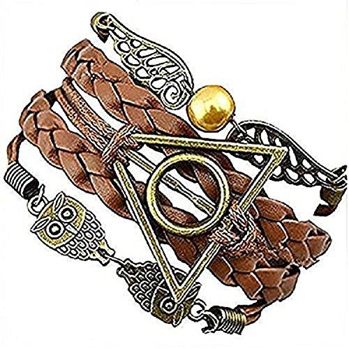 Harry Potter Pulsera de piel trenzada - Snitch con alas de ángel con