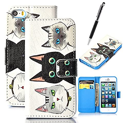 GrandEver Wallet Case for Apple iPhone SE iPhone 5S iPhone 5 Leather Cover Three Cats Pattern Flip Folio Case Bookstyle Stand Shell Full Body Soft Silicone Back Cover Design iPhone 5G Cell Phone Holster Accessory with Credit Cards Slots Magnet Closure Rubber Gel Incase Anti-Drops Dustproof Protective Shell for Apple iPhone 5S/SE/5 + Stylus
