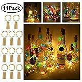 Pomisty Flaschen Licht Mehrfarbig,【11 Stück】 20 LEDs 2M Kupferdraht Lichterkette Weinflasche Lichter mit Kork,LED Lichterketten Stimmungslichter Flasche DIY Deko für Party Weihnachten, Hochzeit