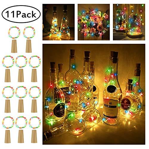 (Pomisty Flaschen Licht Mehrfarbig,【11 Stück】 20 LEDs 2M Kupferdraht Lichterkette Weinflasche Lichter mit Kork,LED Lichterketten Stimmungslichter Flasche DIY Deko für Party Weihnachten, Hochzeit)