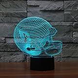 Axiba 3D Nightlights, Rugby Cap Arizona Cardinals 3D-Lichter Bunte Noten-LED-Leuchten