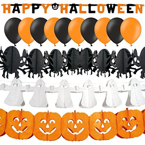 XXL Gruseliges Dekoset für Halloween mit Girlanden & Ballons 14-tlg - Kürbis, Geist & (Happy Halloween Gruseliges Banner)