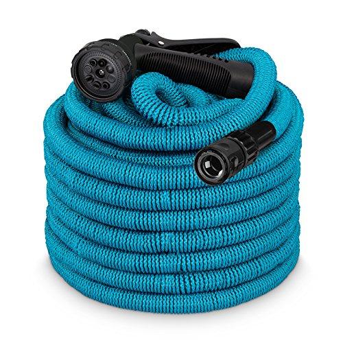 tillvex flexiSchlauch - Flexibler Gartenschlauch 15m Blau - Testurteil Sehr Gut - Blue Edition + Hersteller-Kundenservice aus Berlin + verstärktem Gewebe, Dehnbarer Wasserschlauch