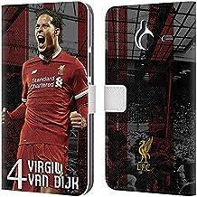 Head Case Designs Ufficiale Liverpool Football Club Virgil Van Dijk 2017/18 Prima Squadra Gruppo 1 Cover a portafoglio in pelle per Microsoft Lumia 640 XL/Dual SIM