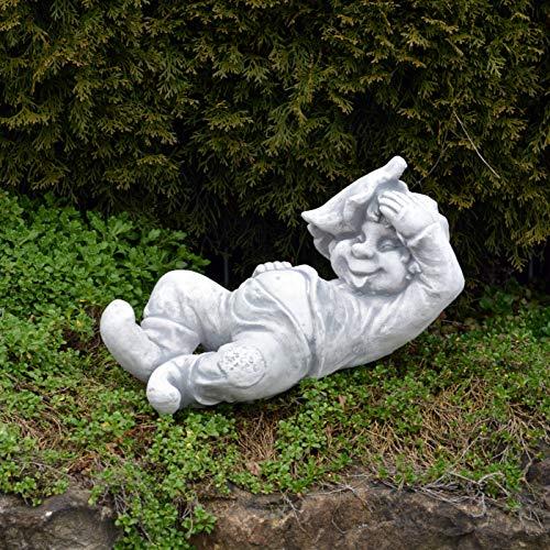 """Lustiger Gnom """"ich, der Faulpelz"""" aus Steinguss, frostfest - 2"""