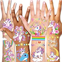 Temporary Tattoos for Kids(98pcs),Konsait Glitter Unicorn Tattoos for Children Girls Birthday Party Favors Supplies Great Kids Party Accessories Goodie Bag Stuffers Party Fillers Halloween Costume