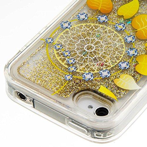 Für iPhone 4/4S Durchsichtige Hülle,Für iPhone 4/4S Crystal Clear Flüssig Hülle Schutz Handy Case Hülle,Funyye Nette Kreative Komisch 3D Flüssigkeit Schutzhülle Bunten Muster Transparent Handytasche G Schöne Blätter