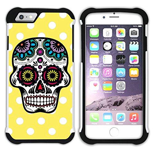 Graphic4You Mexikanische Zuckerschädel Tod Punktmuster Tupfen Muster (Wasserblau) Hart + Weiche Kratzfeste Hülle Case Schale Tasche Schutzhülle für Apple iPhone 6 Plus / 6S Plus Gelb