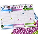 ewtshop® Monster belöningstavla Abreseblock, 28,7 x 21,3 cm, med 450 klistermärken, belöningssystem för upp till 3 barn