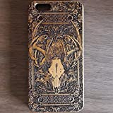 Apple iPhone & Samsung Holzhülle - Ultraslim Handyhülle Echtem Holz Schutz Hülle Schale mit PC Bumper Hart Cover Case Etui Smartphone, Wood Cover Deer Skull Artwork