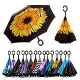 Jooayou Double Layer Inverted Umbrella, C Shape Handle Reverse Folding Umbrella, Anti-UV Windproof