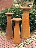 Deko Pflanz Säule mit Pflanzschale Metall Edelrost Vintage Look - hochwertige große Pflanzschalen, erhältlich in 3 Größen oder als 3er Sparset | sowohl als Pflanzgefäß als auch als Feuerschale geeignet (3er Set ( 85,100,122))