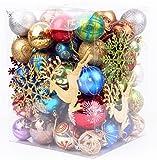 EVERY Weihnachtskugeln 70 Stk Weihnachtskugeln Bunt glänzend glitzernd Christbaumschmuck Baumschmuck Weihnachten Deko