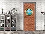 GRAZDesign 791498_67x213 Tür-Bild Struktur mit Bullauge | Aufkleber fürs Wohnzimmer/Bad | Tür-Tapete selbstklebend (67x213cm//Cuttermesser)
