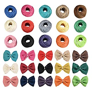 Irich 15Pcs Colourful Jute Twine with 15Pcs Jute Bowknot, Natural Twine String and Bowknot, Decorate Set for Artworks, DIY Crafts, Gift Wrapping (Each Roll 25 Meter)