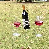 Favourall Outdoor Weinglas Flaschenhalter Einsatz Set Fuer BBQ Garten Picknick Camping Wein Stakes Rack(3 Stück Set)