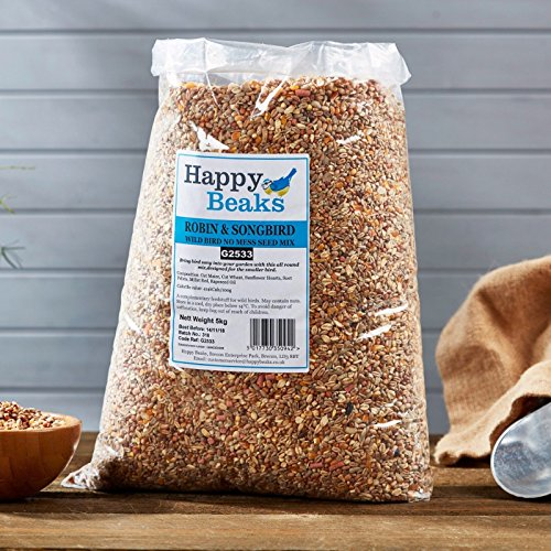 Happy Beaks Robin & Songbird Seed Mix Wild Bird All Season Premium No Mess Bird Food by