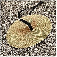 De ala ancha sombrero de las mujeres, Sombrero Civil, 15 cm, 18 cm, sombrero de ala de paja, lazo con la cinta blanca del verano Negro Sombrero de sol de las mujeres planas, sombrero de la playa