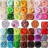 KING DO WAY Filzwolle 36 Farbe Märchenwolle Trockenfilzen Schafwolle Filzen Werkzeug Basteln